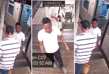 Police are searching for a man (solid white shirt) suspected of beating a man at the Sheridan