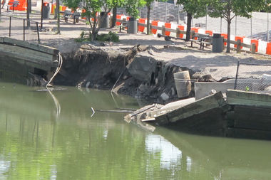 This bulkhead collapsed into the Gowanus Canal in late May.