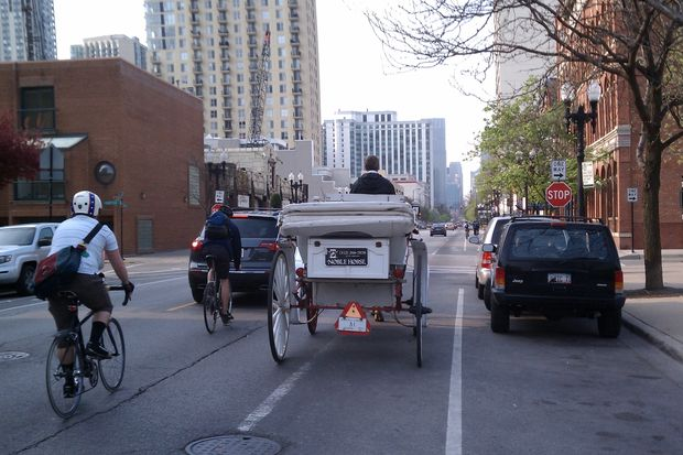 A carriage from the now-shuttered Noble Horse stables rumbles down Wells Street in 2011.