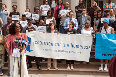 Representatives of the Coalition for the Homeless and Legal Aid Society called on the city Wednesday to stop police from conducting warrant sweeps across city shelters.