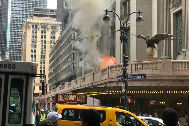 The fire was on the elevated portion of Park Avenue that wraps around the transit hub.