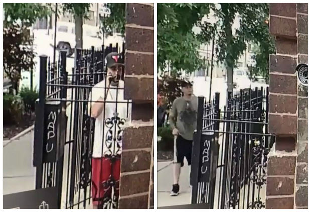A neighbor's surveillance camera captured the men approaching the building and fleeing the scene once they had stolen her belongings.