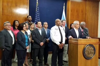 Mayor Rahm Emanuel announced city officials will ask a judge to block an effort to limit federal grants to sanctuary cities, including Chicago.