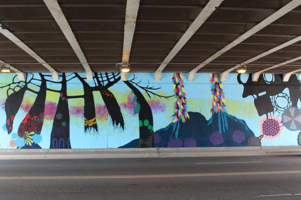 Artist Renee Robbins is putting the finishing touches on murals at the Fullerton underpass at Lake Shore Drive.