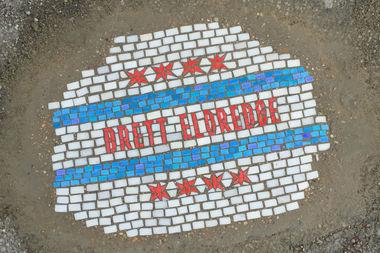 A pothole in Lakeview is advertising singer Brett Eldredge's new album.