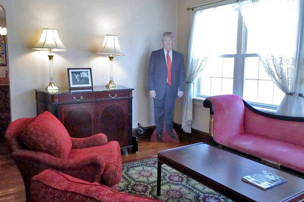 An Airbnb listing for Donald Trump's childhood home in Jamaica Estates said their was a cutout of the president in the living room.