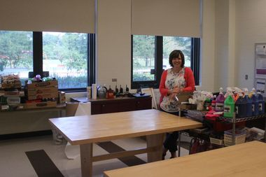 Interim principal Camille Unger shows off the new art classroom at Edgebrook Public School, 6525 N. Hiawatha Ave.