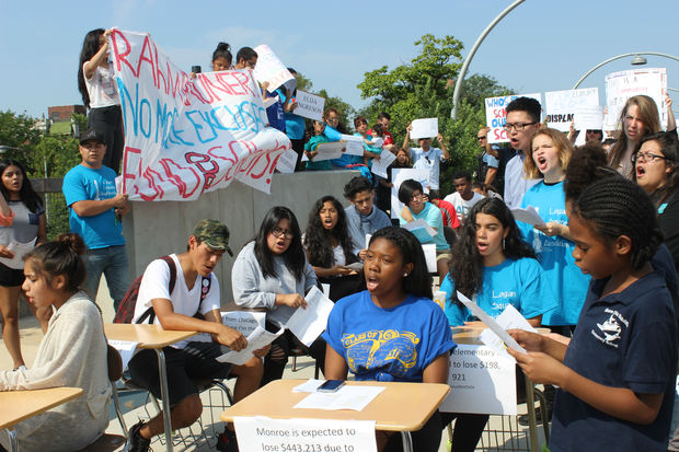 The desks were also meant to demonstrate the cost of budget cuts, organizers said.