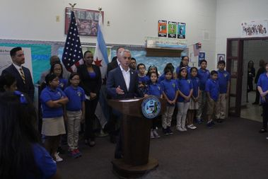 Mayor Rahm Emanuel announced the test score growth at Mary Lyon Public School on Thursday.