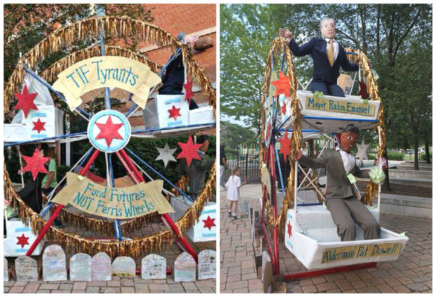 arents at National Teachers Academy will protest CPS' plan to close their school and convert it to a high school with a 12-foot-tall paper mache Ferris wheel that says