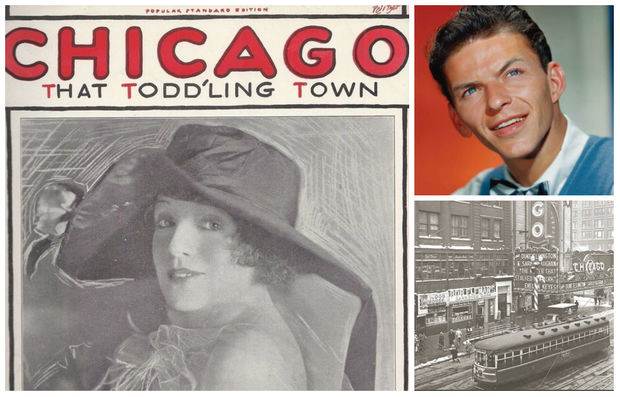 Sheet music for 'Chicago, That Todd'Ling Town,' shows singer Blossom Seeley; Frank Sinatra; State Street