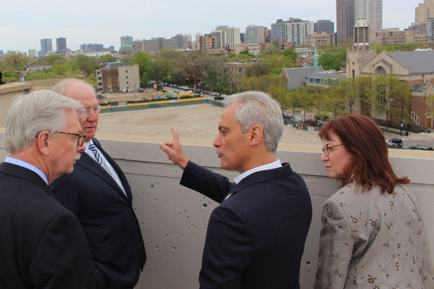 Mayor Rahm Emanuel looks over the Lincoln Common site at the ceremonial groundbreaking in May, with Lurie Children's Hospital CEO Pat Magoon, developer Dan McCaffery and Ald. Michele Smith.