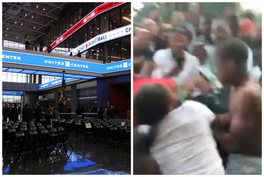 A brawl in the United Center led to the arena being closed down on Monday, police said.