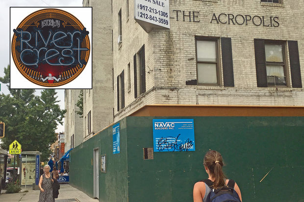 The future River Crest logo, and the space where the bar will open next year.