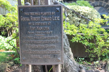 A Robert E. Lee memorial mounted to a maple tree in the church's yard for more than 100 years was removed.