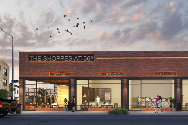 A rendering of what the stores at the site will look like.