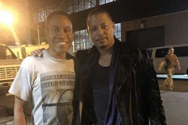 Len Richard (left) and actor Terrance Howard on the set of
