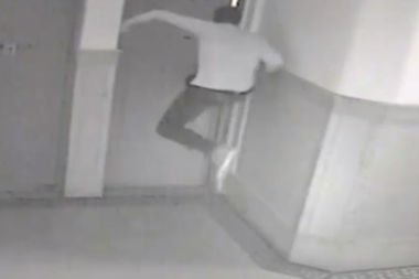 The man was caught on surveillance video busting into the victim's apartment Aug. 3.
