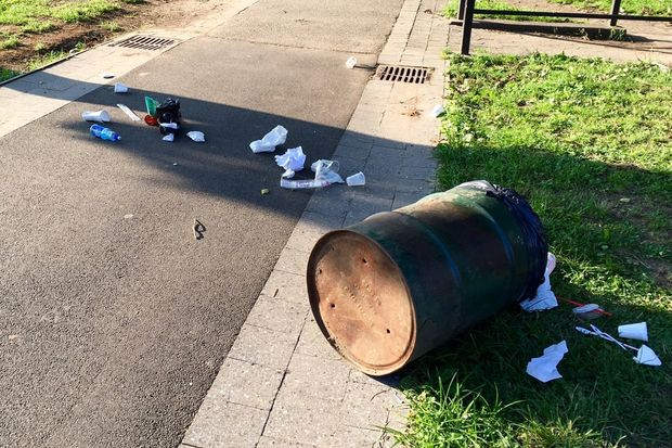 Locals complain that Rufus King Park in downtown Jamaica is plagued by litter.
