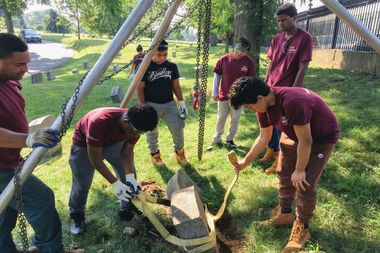 Seven high school students interning at Green-Wood Cemetery surveyed land to rediscover lost graves.
