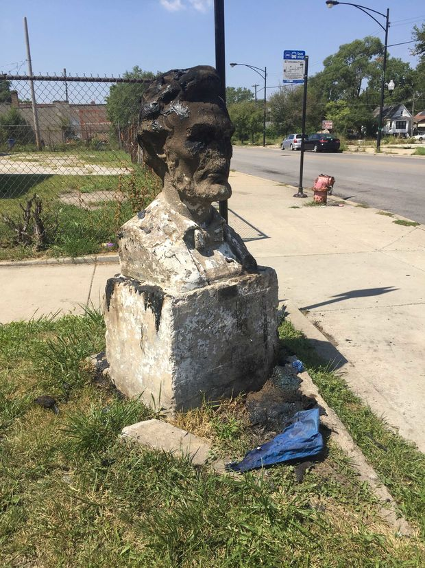 The bust was moved on Thursday morning.