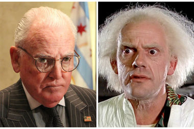 Ald. Edward Burke (left) and the character Doc Brown, played by Christopher Lloyd.