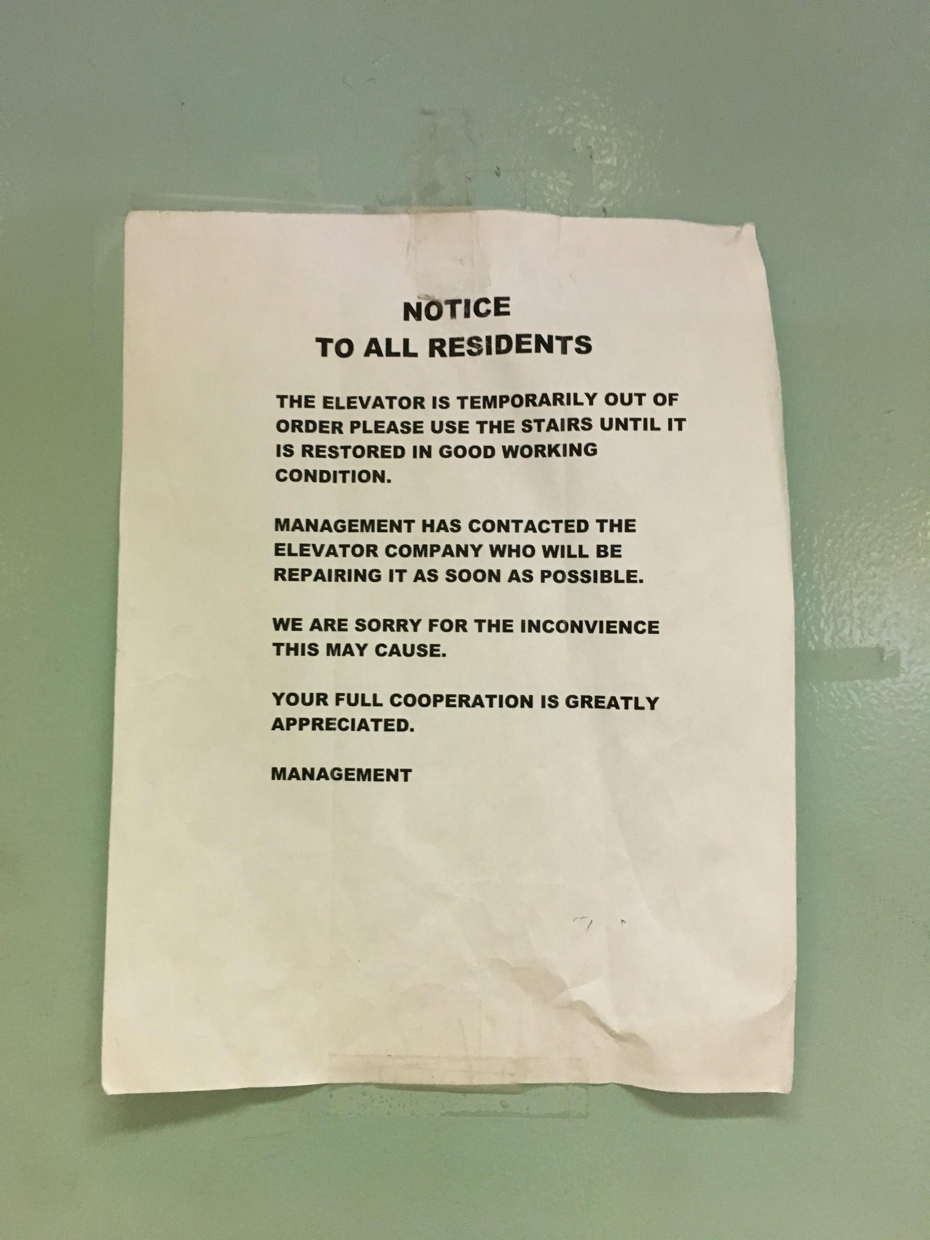 Broken Elevator Traps Disabled Elderly Tenants In Bed