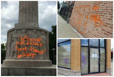 Graffiti on the Logan Square Monument (clockwise from left), a brick wall at North and Artesian avenues and a vacant building at 2427 N. Milwaukee Ave.