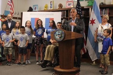 Mayor Rahm Emanuel called on state lawmakers to override Gov. Bruce Rauner's veto of a school funding measure, which would mean $300 million more for the Chicago Public Schools.