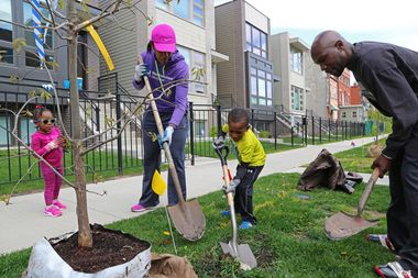 Grand Boulevard residents planting trees in spring 2017.