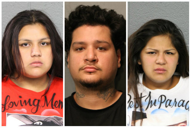 Celeste Perez (from left), Jeremiah Perez and Antonia Perez have been charged in an incident that led to eight officers being injured, police said.