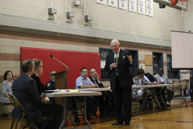 Fourteenth Ward Ald. Ed Burke questions city Aviation Department officials at a hearing about soundproof windows installed near Midway Airport that to emit a foul odor.