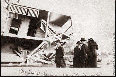 The remains of a home at 5040 N. Meade Ave. in Jefferson Park, after the Palm Sunday tornado of 1920.