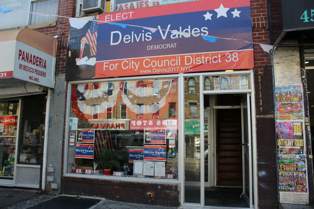 An outpost for Delvis Valdes' campaign is located on Fifth Avenue between 45th and 46th streets.