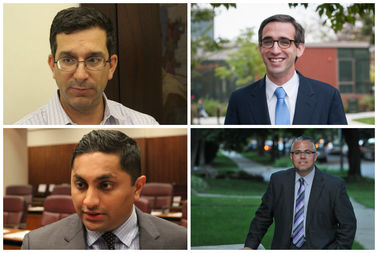 CLOCKWISE FROM LEFT: Ald. Scott Waguespack (32nd); state Rep. Will Guzzardi; Ald. Ameya Pawar (47th);and Ald. Gilbert Villegas (36th) who blasted a voucherlike program.