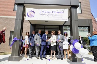 Mayor Rahm Emanuel and Ald. Margaret Laurino (39th) celebrate the opening of the J. Michael Fitzgerald Apartments in North Park.