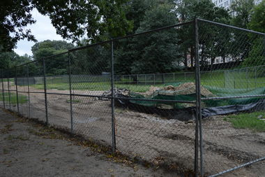 The grassy fields where Officer Fargas fell last year is currently undergoing renovations.