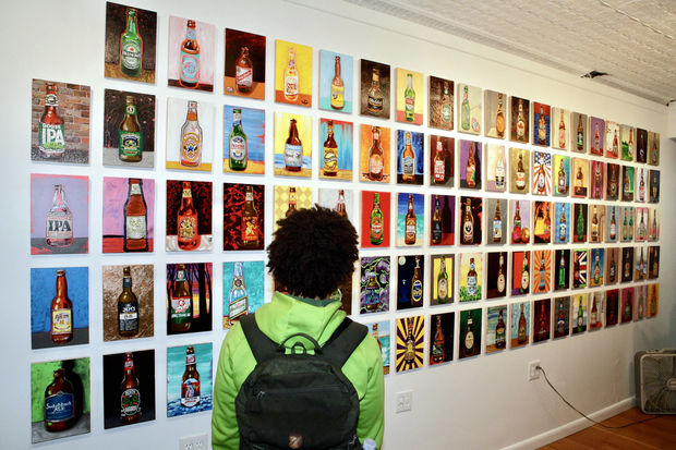An art show all about beer is celebrating their closing party. With free beer.
