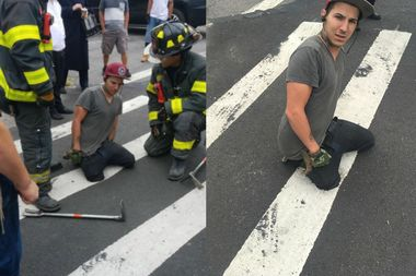 A man's right leg became trapped in a small sinkhole on a Bedford-Stuyvesant street Tuesday morning.