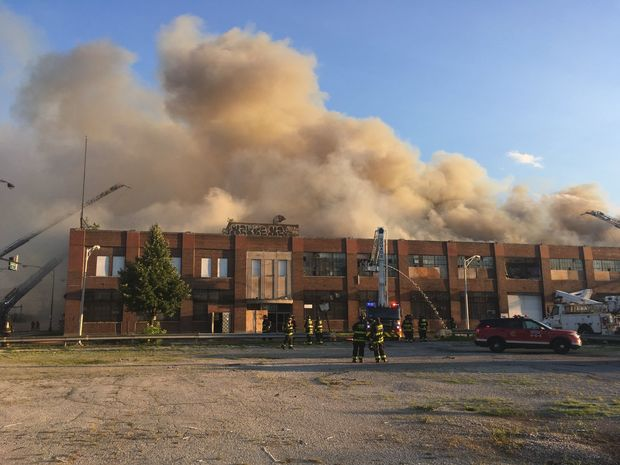 Firefighters battle a blaze at the old Zenith factory in Belmont Cragin.