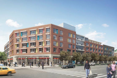 A rendering shows plans for Park Plaza, an affordable housing complex being built in Ocean Hill.
