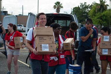 Red Cross workers drop off supplies in Texas.