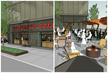 Renderings of the new coffee shop, coming to the MiCa Towers on Dec. 1.