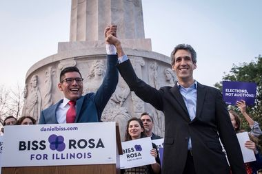 Democratic candidate for governor Daniel Biss, right, named rookie Ald. Carlos Ramirez-Rosa (35th) to be his running mate for the 2018 campaign at a rally at the Logan Square monument.