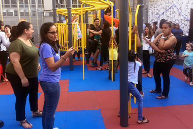 The WHEELS school, located at 511 W. 182nd Street, unveiled its new playground Thursday afternoon.
