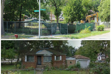 A long-vacant house at 2005 W. Edmaire St. in Morgan Park has been leveled (above). The house (below) was vacant for several years and recently began to collapse, Ald. Matt O'Shea said Friday.