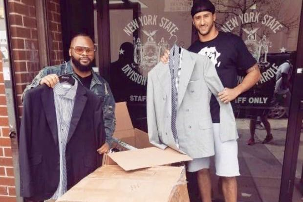 Colin Kaepernick has donated money and suits to a Jamaica nonprofit assisting formerly incarcerated men and women.