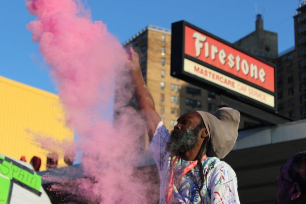 """The J'Ouvert parade took place on Empire Boulevard in Crown Heights with steel pan bands and mas, or """"masquerade,"""" groups."""
