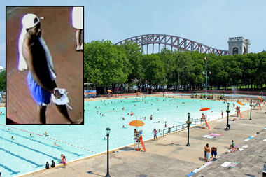 The man fled after fellow pool-goers witnessed him with the weapon, according to police.