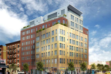 A rendering shows 27 Albany Ave. at Fulton Street, a 10-story, 47-unit building that will include 12 below market-rate units.